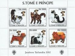 SAO TOME E PRINCIPE 2003 SHEET JAMBOREE BADEN POWELL SCOUTS DOGS CHIENS HUNDEN CHATS CATS GATOS KATZEN GATTI St3219 - Sao Tome En Principe
