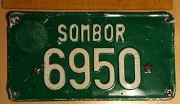 1980's - Green TRACTOR License Plate - Yugoslavia - Communist Red Star - Number Plates