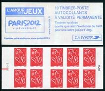 """Carnet De 2005 De 10 Timbres Type """"Lamouche"""" Avec Couvert. Blanche """"Paris 2012"""" - Avec RGR-2 Et RE Au Milieu - Carnets"""