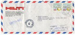 Bolivia 1987 Registered Airmail Cover La Paz To Southfield MI W/ Scott 731 UPU - Bolivia