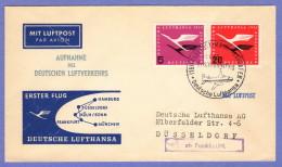 GER SC #C61, C64 1955 Air Service First Flight Lufthansa / Frankfurt To Dusseldorf  04-01-1955 - Covers