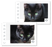 BLACK CAT With GREEN EYES Set Of 2 Unique Personalized Picture Postage Stamps Canada 2017 P17-04bc2 - Katten