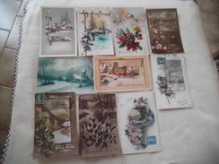 LOT DE 10 CARTES FANTAISIES ...ILLUSTRATIONS BONNE ANNEE - Postcards