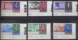 J27 Jordan 1967 Mi. 658B-663B Complete Set 6v. Corner Marginal IMPERF - Mexico Olympic Games 1968 - Jordan