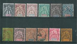 France Colonie Inde Timbres De 1900/07  N°1 A 12  (6 Neufs * Et 6 Oblitérés) Cote 114,50€ - India (1892-1954)