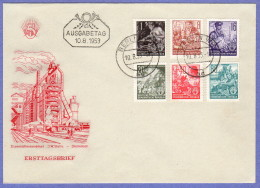 DDR SC #155,158,162-3,167,170 1953 Definitives FDC 08-10-1953 - [6] Democratic Republic