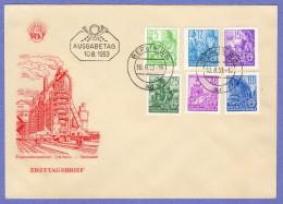 DDR SC #156,160-1,164,168-9 1953 Definitives FDC 08-10-1953 - FDC: Enveloppes