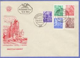 DDR SC #157,159,165-6,171 1953 Definitives FDC 08-10-1953 - [6] Democratic Republic