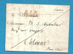 Ardennes - Sedan Pour Colmar (Haut Rhin) - 1826. LAC En Port Payé. - Postmark Collection (Covers)