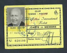 RABAT MAROC CARTE DE MEMBRE LLUSTRÉE DE Mr LUCIEN BILLARD DU CLUB TENNIS PISCINE : - Cartes