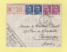 Esprels - Haute Saone - 10-12-1954 - Recommande - Marcophilie (Lettres)