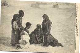 Mlle R Tournoil Fillettes Jouant Aux Osselets Dans Les Dunes à El Oued (Souf) Recto Verso