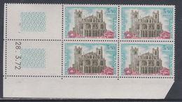 France N° 1713 XX  Cathédrale Saint-Just à Narbonne En Bloc De 4 Coin Daté Du  28 .3 . 72 , Sans Trait, Sans Char., TB