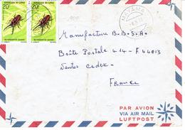 2 Timbres YT 274 Metopodontus Savagei Sur Lettre De Mayama à Nantes Du 8/8/1973 - Congo - Brazzaville