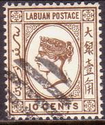 NORTH BORNEO LABUAN 1893 SG #43a 10c Used No Wmk Engraved Sepia-brown CV £19 - North Borneo (...-1963)