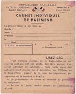 CARNET INDIVIDUEL DE PAIEMENT / REPUBLIQUE FRANCAISE - Documenten