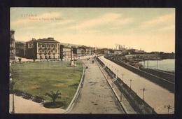 CATANIA VIAGGIATA NEL 1909 PARTERRE E PIAZZA DEI MARTIRI - ACQUERELLATA - Catania