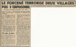 Juillet 1963 : Document, Saint-Thual, Bécherel (Ille-et-Vilaine), Le Forcené Terrorise Deux Villages Puis S'empoisonne - Vecchi Documenti