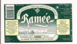 Etiquette Décollée Bière Ramée - Ambrée - Abbaye De La Ramée - Namur  - - Bier