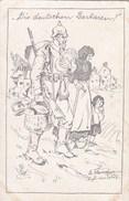 CPA Illustrateur Signé Dessin  GUERRE SOLDAT Allemand Un Bon Geste  DIE DEUTSCHEN BARBAREN !!! - War 1914-18