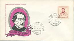 ITALIA - FDC 1968 - GIOACCHINO ROSSINI - MUSICA - 6. 1946-.. Repubblica