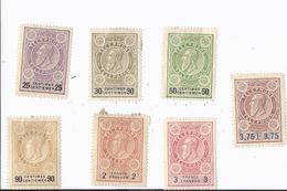 7 Timbres Téléphone, Sans Souche. 1891....de 25, 30, 50, 90 Centimes Et 1, 3, 3.75 Francs - Altri