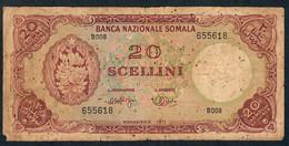 SOMALIA  P15  20 SCELLINI  1971   VG Only 2 P.h.,small Corner Missing - Somalia