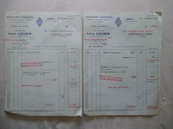 AMIENS ETABLISSEMENTS LEON LOURIA MANUFACTURE DE CONFECTIONS 17 RUE DES AUGUSTINS FACTURES DES 28/11&16/12/49 - France