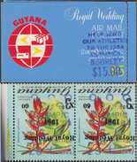 Guyana 1984 Y&T C959. Carnet, Surcharges Renversées. JO 1984, Boxe, Cyclisme, Athlétisme, Fleurs - Ciclismo