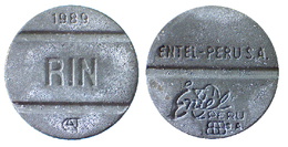 04261 GETTONE JETON TOKEN FICHA PERU TELEFONICO TELEPHON ENTEL RIN 1989 - Jetons En Medailles