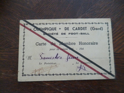 Carte De Membre Gard Olympique De Cardet Foot-ball 194? TBE - Alès