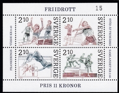 Schweden, 1986, Mi. Nr. 1403/06 Block 14,  Leichtathletik,  MNH ** - Blocks & Sheetlets