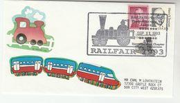 1993 RAPPAHANNOCK Steam RAILWAY EVENT COVER  Stamps USA Steam Train - Trains