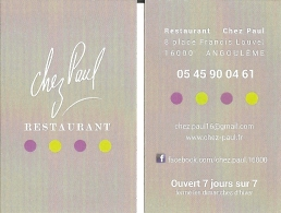 Carte De Visite - Chez Paul - Restaurant - Angoulême - Visiting Cards