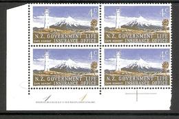 003500 New Zealand Life Insurance 1969 Plate 1 1 Block MNH - Nouvelle-Zélande