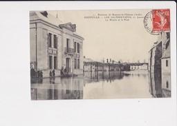 10 Dienville Les Inondations 21 Janvier La Mairie Et Le Pont Environs De Brienne Le Chateau Cpa Animée Cachet 1910 - France