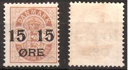 Denmark 1904 15 øre Overprint On 24 øre Mi 41 Unused - Hinged