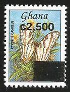 Ghana 2002 C2500 Overprint On C800 Cyrestis Camillus African Map Butterfly MNH - Ghana (1957-...)
