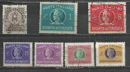 ITALY 19451990 - POSTAGE DUE - RECAPITO AUTORIZZATO - LOT OF 7 DIFFERENT - USED OBLITERE GESTEMPELT USADO - Taxe