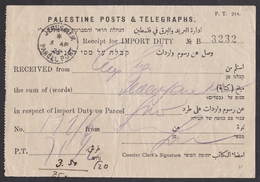 Palestine: Receipt For Import Duty On Parcel, Jerusalem 1927, Post & Telegraphs Form 214, Tax (damaged: Creases) - Palestina