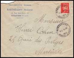 4752 Lettre Cover Bouches Du Rhone Roquevaire N°514 Pétain  Pour Marseille 1941 - 1921-1960: Période Moderne