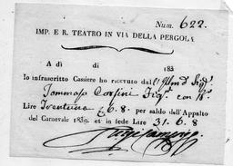 1830 FIRENZE TEATRO DELLA PERGOLA - Biglietti D'ingresso