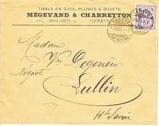 64B  SUR LETTRE AVEC LOGO PRIVE : MEGEVAND & CHARRETTON - GENEVE - TISSUS EN GROS - 1905 - COTE 45.-- CHF - 1882-1906 Coat Of Arms, Standing Helvetia & UPU