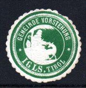 Grüne Vignette Der Gemeindevorstehung Von IGLS In Tirol - Siegelmarke Verschlußmarke - Alte Papiere