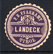 Violette Vignette Vom Pfarramt Von Landeck In Tirol - Siegelmarke Verschlußmarke - Alte Papiere