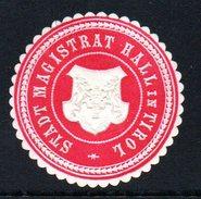 Rote Vignette Von Stadtmagistat Hall In Tirol - Siegelmarke Verschlußmarke - Alte Papiere