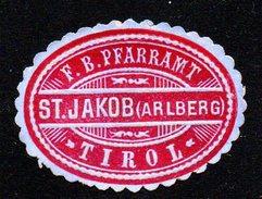 Ovale Vignette Von St. Jakob Am Arlberg - Siegelmarke Verschlußmarke