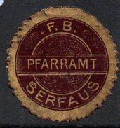 Braune Vignette Vom Pfarramt Serfaus - Siegelmarke Verschlußmarke - Alte Papiere