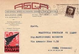 8284 BOLOGNA ASCA - TARGHETTA - ERINNOFILO PRODOTTI ITALIANI - Entiers Postaux