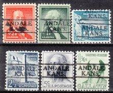 USA Precancel Vorausentwertung Preos Locals Kansas, Andale 811, 6 Diff.